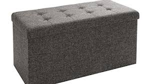 seville classics foldable tufted storage bench ottoman with bin