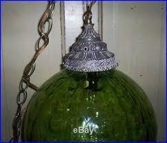 mid century green ribbed glass hanging swag lamp light retro