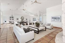 the living room boca contemporary living room with terracotta tile floors cathedral on
