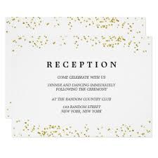 reception card faux gold confetti modern wedding reception card confetti