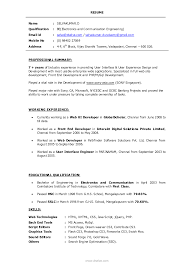 Sample Resume Format For Fresh by Mba Resume Format For Freshers Pdf Free Resume Example And