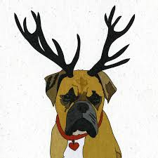 pug x boxer dog illustrated boxer dog blank card by illustrated cards
