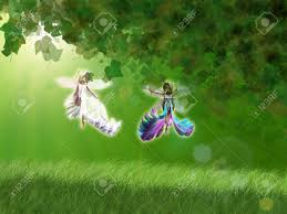Beautiful Fairies by 3d Beautiful Fairies In The Forest Flying Over Green Grass Stock