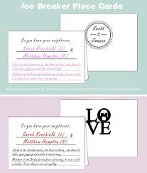 free wedding ice breaker place cards template