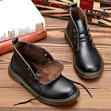 mens genuine leather winter boots waterproof snow boots velvet