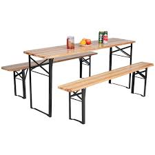 Folding Picnic Table To Bench Costway 3 Pcs Beer Table Bench Set Folding Wooden Top Picnic Table
