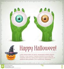 happy halloween card with two hands holding eyes stock vector