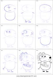 how to draw mayor lion from peppa pig printable step by step