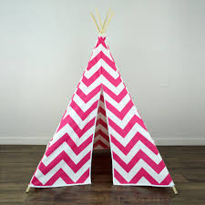 kids teepee tent in pink and white large chevron zig zag
