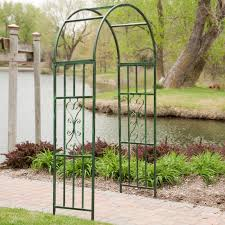 Arbors Trellises Coral Coast Willow Creek Metal Arbor Black Hayneedle