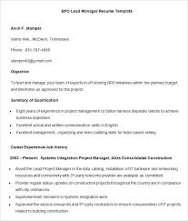 sample resume for experienced candidates lead manager resume