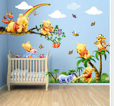 classic winnie the pooh wall decals baby nursery large cartoon