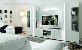 tv wall panel stamford unit in black gloss fronts with shelving