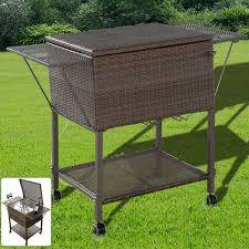 wicker patio storage bar bottle cooler garden outdoor storage rattan table bbq drinks