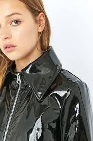 cheap biker jackets cheap monday prize black patent faux leather biker jacket in black