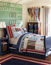 boys bedroom archaic blue football sport theme kid bedroom