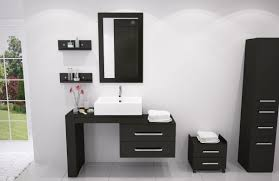 luxury modern bathroom with unique unframed mirror featuring