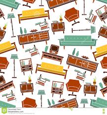 Seamless Retro Home Furniture Pattern Background Stock Vector - Retro home furniture