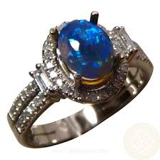 black opal engagement rings semi black opal diamond ring blue oval flashopal black opal