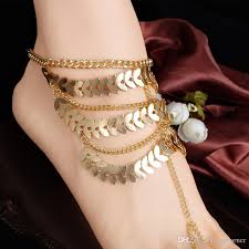 2017 retro style gold leaf design anklets with toe rings tassels