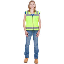 Construction High Visibility Clothing Utility Pro Wear Hi Vis Zip Front Nylon Mesh Vest Hi Vis Yellow