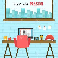 home office flat interior design vector illustration royalty free