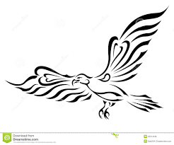 freedom symbol tattoo flying eagle with big wings royalty free