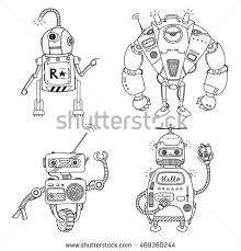 vector illustration robot mechanical character design stock vector
