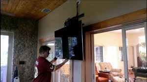 Swivel Ceiling Tv Mount by Demonstrating A Newly Installed Pull Down Tv Mount Youtube