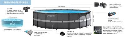 Intex Metal Frame Swimming Pools Amazon Com Intex 18ft X 52in Ultra Frame Pool Set With Sand