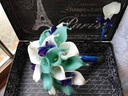 Royal Blue Boutonniere Real Touch Aqua Blue U0026 White Calla Lily Royal Blue Orchid Wedding