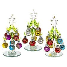 beautiful small glass tree decorated with coloured