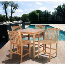 Amazonia Teak 5 Piece Patio Bar Set Sc Ares 4boma Home