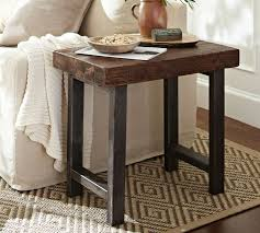 iron and wood side table griffin reclaimed wood side table pottery barn