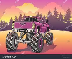 monster trucks races cartoon cars cartoon monster truck on evening landscape stock vector 623436389