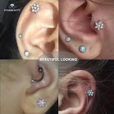 stud cartilage piercing 1 lot luxury opal cartilage piercing 16g stud earrings