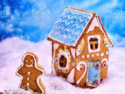 beautiful christmas gingerbread house in sugar snow stock photo