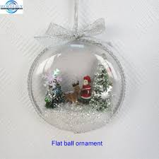 flat clear plastic christmas ball ornament w snowing christmas