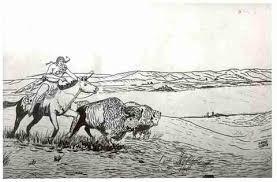 sketch of indian hunting buffalo at buffalo pound lake sain