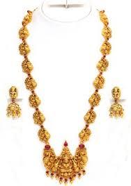 gold bridal attigai necklace set from vbj sarees jewels