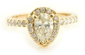 pear engagement ring pear cut diamond halo engagement ring in yellow gold arden