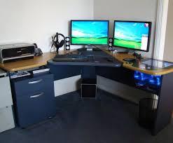 Computer Desk For Multiple Monitors Charitable Left Side L Shaped Desk Tags Cherry Wood L Shaped