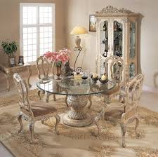 Florence Round Glass Pedestal Table Dining Room Set By Orleans - Antique white pedestal dining table
