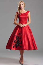 off shoulder red party dress with floral embroidery x04161102