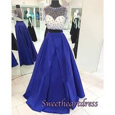 navy blue satins two pieces see through beading long prom dresses