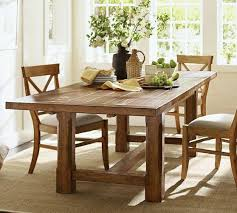 pottery barn farm table style pine wood extending dining table
