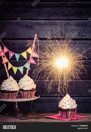 birthday sparklers cupcakes happy birthday banner lit image photo bigstock