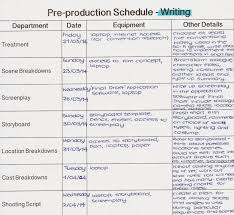 pre production schedule action4passion productions