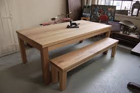 heavy oak parsons style table and bench lorimer workshop