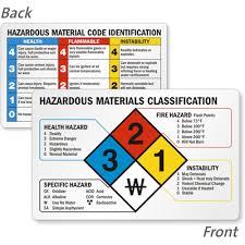 hazardous materials classification table hazardous materials classification nfpa 2 sided wallet guide sku
